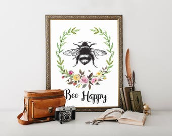 Bee Happy, Printable, be happy, be happy sign, vintage, vintage prints, vintage wall decor, french country, home decor, wall art prints