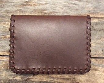 Mens Leather Wallet, Card Holder, Slim Wallet, Minimalist, Brown Leather, Wife to Husband Gift, Boss Appreciation, Made in USA