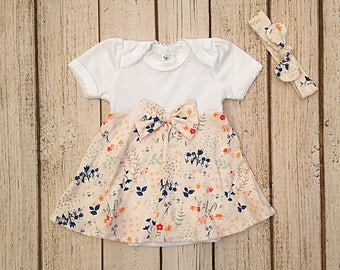 Newborn Dress, Baby Girl Coming Home Dress, Floral Baby Outfit, Ivory Baby Dress, Summer Infant Clothes, Dress & Headband Set for Pictures,