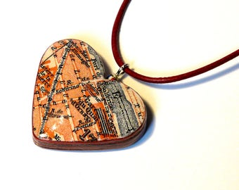 Heart pendant PARIS 1923 Gare dOrsay city map vintage travel guide layers upcycled urban style gifts for travelers