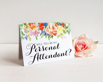 Will you be my Personal Attendant? - Greeting Card Note Card - Personal Attendant Ask Card with Metallic Envelope Wedding Stationery