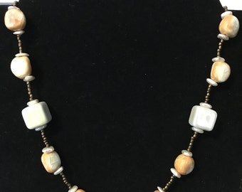 Orange Pearl Cream and Bronze Necklace