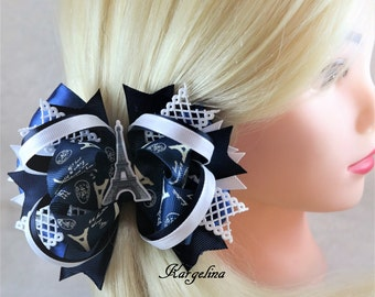 navy blue hair bow large bow Eiffel Tower Theme Paris bow France ribbon hair bow dark blue bow paris hair bow custom hair bow Paris hair