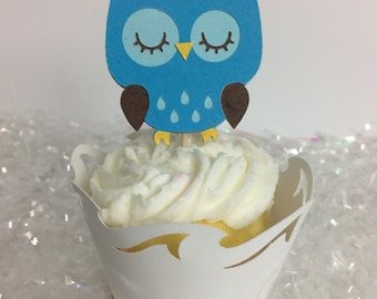 Blue Owl Cupcake Toppers ~ birthday ~ baby shower ~ party