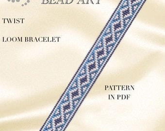 Bead loom pattern - Twist geometric LOOM bracelet PDF pattern instant download