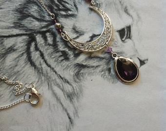 """Elvish """"Rayos la luna"""" necklace purple Crystal beads"""