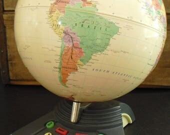 Vintage GeoSafari World Globe on Stand, ExploraToy, Child's Room Decor, Classroom Globe, Kids Globe for Desk, Interactive Educational Toy