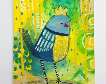 Blue tit painting - Original acrylic painting - Mixed media artwork. Bird illustration - Whimsical art - Crown - Fairytale art