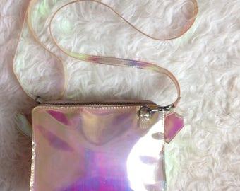 90s Baby Soft Grunge Y2K Iridescent Holographic Rainbow / Bag Clutch Crossbody Purse