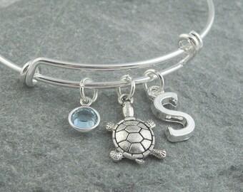 Turtle bracelet, silver turtle charm, initial bracelet, swarovski birthstone, personalized jewelry, turtle jewelry, adjustable bangle, ocean