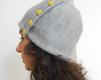 Grey knit hat beanie, Women hat, Buttons hat, Hand knit cap, Wool hat, Winter hat, cable knit hat
