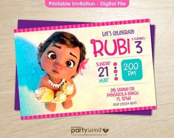 Baby moana invitation, Printable moana invitation, Moana Party supplies, Moana Birthday Party, Moana Birthday Card, Disney Moana Download