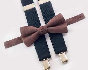 Brown Bow Tie & Black Suspenders, mens bow ties, mens suspenders