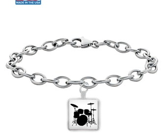 DRUM SET - Silver Charm Bracelet - Drums - Drum Kit - Drummers Gift - Gifts for Drummers - Jewelry - Made in the USA
