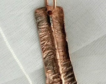 Open book fold formed hammered copper textured pendant necklace teacher gift