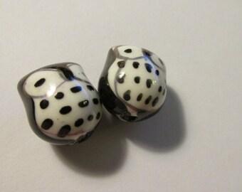"Black and White Ceramic Kawaii Baby Owl Beads, 3/4"", Set of 2"