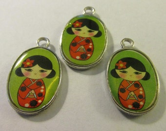 "Kawaii Japanese Kimono Kokeshi Doll Charms, 3/4"", Set of 3"