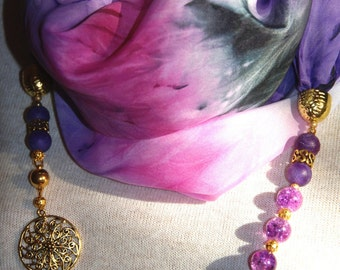 """Silk scarf.Scarf-necklace «Magic of agate"""" from natural  silk and stones."""
