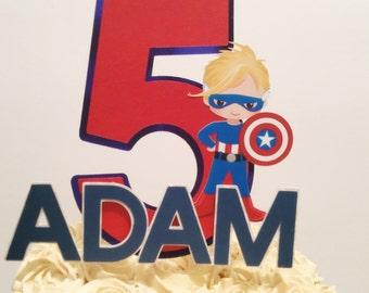 Captain America Inspired Cake Topper