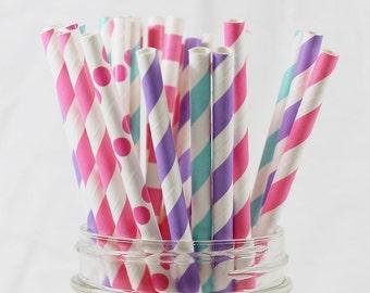 Straws, Sweet Cupcakes Theme Straws, Girly Straws, Birthday Party Straws, Baby Shower Straws, Paper Straws, Popular Straws, Polka Dot Straws