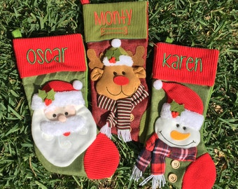 Personalized 3D Christmas stocking monogrammed christmas stocking , custom christmas stocking , personalized