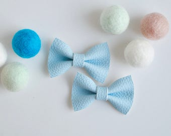 Baby Bows, Baby Blue Leather Hair Bow, Baby hair bow, baby hairbow, toddler hair clip, toddler hair bow, leather bow, baby hair clip