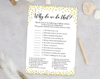 Why Do We Do That? Guess The Wedding Traditions game   - Printable Gold Confetti Bridal Shower Gold Bridal Shower Game - Bachelorette 032