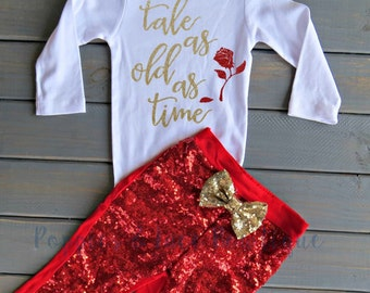 Tale As Old As Time, Baby Girl Outfit,  Princess Outfit, Princess Birthday, Girls' Outfit, Gifts For Girls
