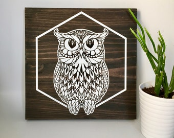 Wood Wall Art, Owl Painting, Owl Art, Wooden Owl, White Owl, Owl Wall Décor, Owl Home Décor, Owl Wall Hanging, Painted Owl, Sitting Owl, Owl