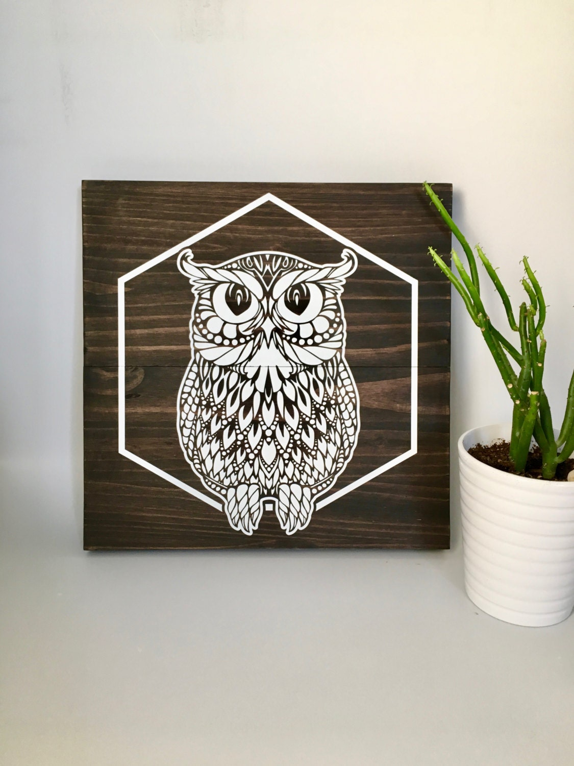 Wood Wall Art Owl Painting Owl Art Wooden Owl White Owl