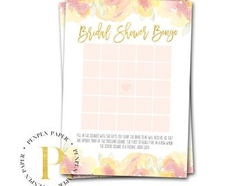 Bridal Shower Bingo, Printable Bridal Shower game, Bridal Shower Printable, yellow and pink flowers, LEMON BALM COLLECTION