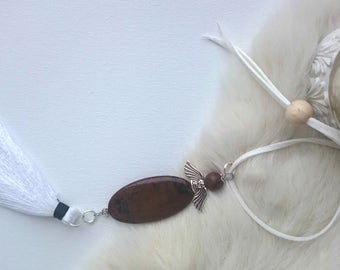 Antistress bracelet, Tassel jewelry, Yoga jewelry, Stress relief jewelry, Stress bracelet, Obsidian necklace, Gemstone jewelry, Healing
