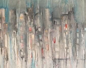 Peinture originale acrylique sur toile, jungle urbaine, technique mixte, art contemporain, décoration murale, paysage urbain abstrait,