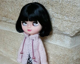 "Clothing: long vest pink ""TRISTANA"" for dolhouse 1/6 (blythe, jecci five, icy doll pullip, BJD...)"