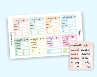 Flight Stickers / Flight Tracker / Planner Stickers / Airplane Sticker / Travel Sticker / for use with Erin Condren LifePlanner™ | KA27