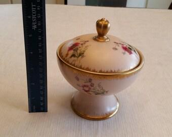 vintage pedestal covered dish / bowl in rose beige color - porcelain ceramic condiments serving - floral gold gilt pinkish candy trinket art