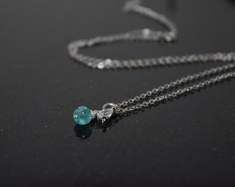 Aqua Apatite Necklace, .925 Sterling Silver Necklace, Genuine Apatite Necklace, Sterling Silver Necklace, Gift For Her