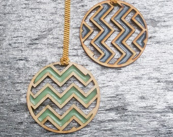 CHEVRON Necklace | Resin Necklace | Geometric Necklace | Laser Cut Necklace | Wood Necklace | Zig Zag | Gift for Her