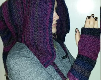 Purple pixie hood and fingerless gloves.