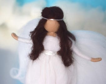 White felted wool angel, Christmas decoration, Christmas angel, Waldof angel, Christmas ornament, Sweet wool angel, Needle felted doll xmas