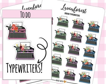 typewriter planner sticker, typewriter sticker, work/write/type writer/ stickers, personal planner stickers, happy planner stickers, D0040