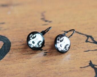 SALE pair of earrings Black Cat Skull