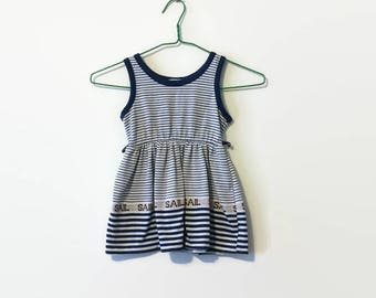 1970s Nautical Striped SAIL Toddler Dress 3T