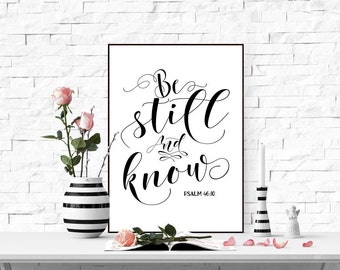 Be still and know Printable wall art print Bible verse art Scripture quote Bible verse print Digital home decor bible verse Psalm 46:10