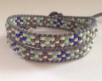 Green and Blue Seed Bead Wrap Bracelet Choker Necklace, Chan Luu Style Wrap,  Flower Wrap Bracelet, Green and Blue Beaded Choker