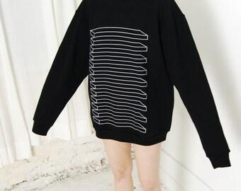 Illusion Striped Fleece Sweatshirt –Front and Back Print