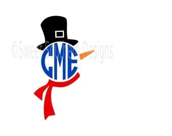 Snowman monogram Christmas winter SVG instant download design for cricut or silhouette