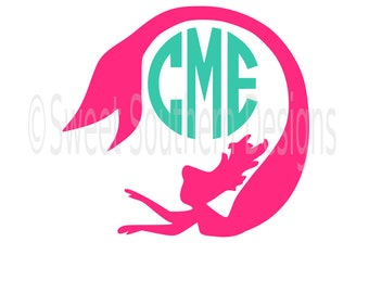 Mermaid silhouette monogram SVG instant download design for cricut or silhouette