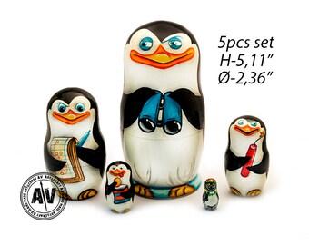 "The Penguins of Madagascar Nesting Dolls for kids Madagascar characters Kids Gift Matryoshka Doll Funny Gifts Kids Room Decor Babushka 5.11"""