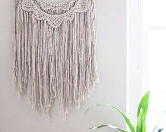 Macrame Wall Hanging / Natural White Cotton Rope / Triangles / Double Layer / Wood Dowel / Wedding Decor / Bohemian Home Decor / Nusery